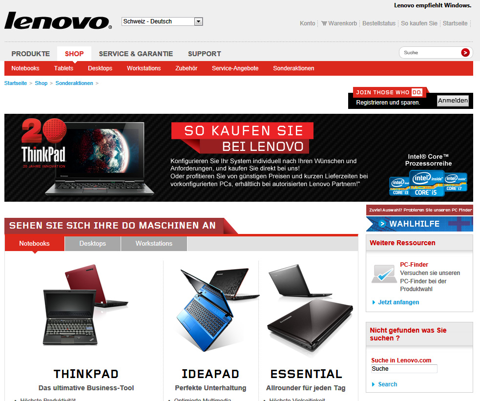 lenovo lanciert schweizer online shop it reseller. Black Bedroom Furniture Sets. Home Design Ideas