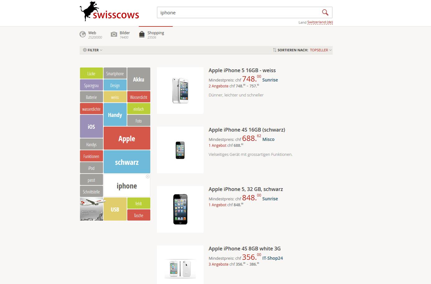 Swisscows lanciert Shopping-Portal