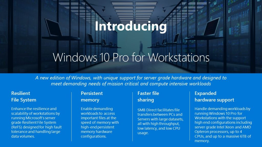 Microsoft bringt Windows 10 Pro for Workstations